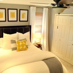 Grey Yellow Bedroom - Small room Put  ornate long mirror where window is