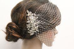 Bird cage veilWedding hair accessoriesBridal birdcage
