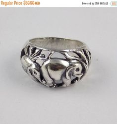 ThanksGiving Sale 1 Pcs Lovely Elephant Design Ring 925 Sterling Silver High Polished Black Oxidize Handmade Unique Vintage Silver Ring by UGCHONGKONG on Etsy
