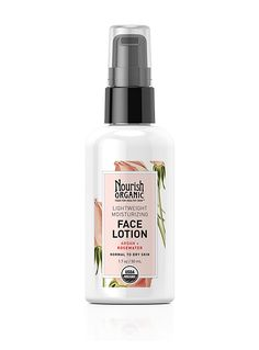 Lightweight Moisturizing Organic Face Lotion I chose this because Nourish Organic is USDA Organic certified, Oregon Tilth Certified Organic, cruelty-free and the packaging is all recyclable. The ingredients are gluten-free and vegan as well.
