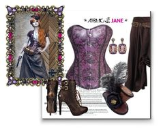 """""""ATOMIC JANE"""" by atomic-jane ❤ liked on Polyvore featuring Olivia Riegel, Blink, Federica Rettore, purple, corset, fauxleather, steampunk and atomcijanesteam"""