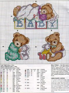 Cross-stitch Baby Teddies Orsetti belli