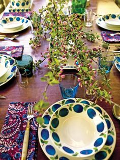 Blues, greens and purple table setting...