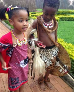 HRH Princess Temave & Prince Betive daughter and son of Inkhosikati LaDube African Wedding Attire, African Attire, African Wear, African Dress, African Traditional Dresses, Traditional Outfits, Traditional Wedding, African Children, African Women