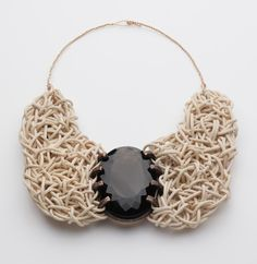 Iris Bodemer – Ingredients_Neckpiece 2008  Smoky quartz, rattan, copper, gold 750