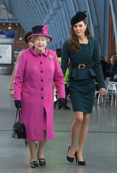 Kate Middleton Photos Photos - Queen Elizabeth II and Catherine, Duchess of Cambridge (R) arrive at St Pancras station, before boarding a train to visit the city of Leicester, on March 8, 2012 in London, England. The royal visit to Leicester marks the first date of Queen Elizabeth II's Diamond Jubilee tour of the UK between March 8 and July 25, 2012. - Queen Elizabeth II, Prince Philip, Duke Of Edinburgh And Catherine, Duchess Of Cambridge Visit Leicester