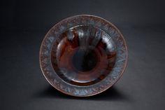 飴釉押文鉢 Bowl, amber glaze 2012 Glaze, Amber, Enamel, Ivy, Display Window