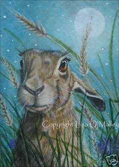 "Print Hare ""Harvest Moon""  Lisa O'Malley"