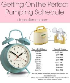 Everything You've Ever Needed To Know About Pumping. It is so important to be on the perfect pumping schedule to increase your milk supply. You have got to stick to every three hours or every 2 1/2 hours and you need to do it for at least 20 minutes each time, but I also recommend doing that with a double pump.
