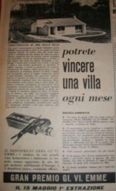"""www.piziarte.net La pubblicità negli anni 50 """"Villa"""" dalla rivista settimanale """"Il Tempo"""" 1954."""