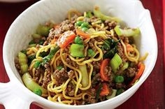 Beef chow mein. Tasty, versatile and easy to clean up afterwards, this meal with mince is perfect for the weeknights.