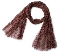 Corciova®  Large Totem Pattern Cotton Linen Lady's Scarf with Tassel Edges Brown