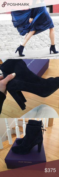 Stuart Weitzman Blue Suede Booties Brand new Stuart Weitzman blue sued booties. These are a size 8N so they are for a more narrow foot. Stuart Weitzman Shoes Ankle Boots & Booties