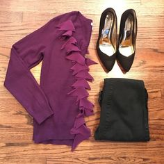 NY&Co Purple long sleeve cardigan Sweater Purple button down Cardigan.  Has some fraying of the decorative Ruffles (picture 4). Worn just a handful of times. New York & Company Sweaters Cardigans