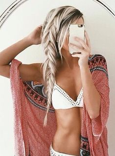 hair + swimsuit + coverup