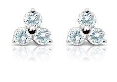 Rosendorff Brilliant Diamond Stud Earrings each featuring 3 brilliant cut diamonds
