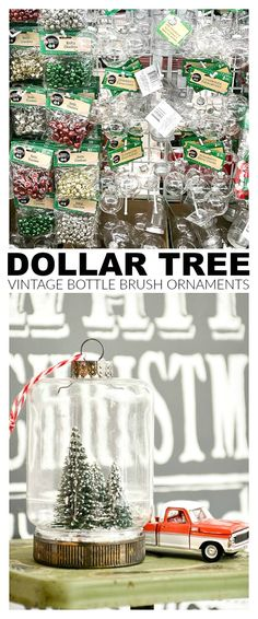 How to Make Vintage Inspired Bottle Brush Ornaments - Adorable and inexpensive Dollar Tree bottle brush ornaments! : How to Make Vintage Inspired Bottle Brush Ornaments - Adorable and inexpensive Dollar Tree bottle brush ornaments! Dollar Tree Gifts, Dollar Tree Christmas, Dollar Tree Decor, Christmas Ornament Crafts, Diy Christmas Gifts, Christmas Ideas, Diy Ornaments, Holiday Crafts, Xmas Trees