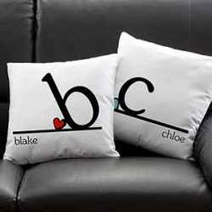 His And Hers Pillows Love The Little Heart Propped Against Initial