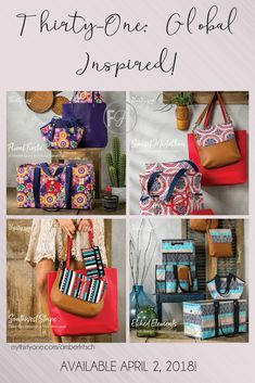 Thirty-One is introducing a new line April 2, 2018! The Global Inspired collection shows bright colors that will make you think of world travels! Available in our Studio Thirty-One flaps, Large Utility Totes, and other popular products- check with your consultant to see if she can offer these! Only top performers in the company will have these available for sale!