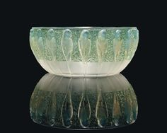 PERRUCHES BOWL, NO. 419 designed 1931, opalescent and green stained, stencilled R. LALIQUE FRANCE, 9 ⅞ in. (25 cm.) diameter