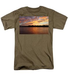 Sunset Men's T-Shirt (Regular Fit) featuring the photograph Colorful Sky At Sunset by Cynthia Guinn