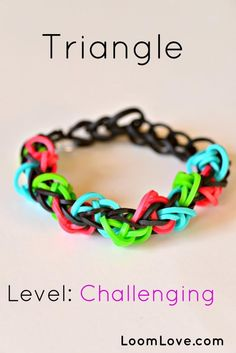 triangle rainbow loom bracelet I need to find this stuff so Kenzie can come over and make them. :-)