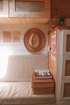 Van Living, Tiny House Living, Small Living, Home And Living, Caravan Makeover, Caravan Renovation, Mercedes 508, Van Storage, Camper Storage