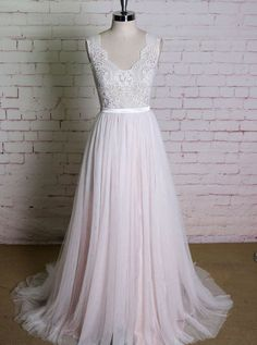Blush A-line Wedding Dresses,Lace and Tulle Wedding Autumn iDeas 🍂 Western Wedding Dresses, Elegant Wedding Gowns, Classic Wedding Dress, Wedding Dress Styles, Boho Wedding Dress, Bridal Dresses, Gown Wedding, Simple Country Wedding Dresses, Rustic Wedding Attire
