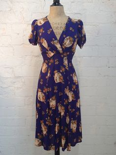 Rita - Knee Length - Purple Umbrella-Vintage reproduction dress in prewashed rayon viscose 40's frocks great for swing dancing