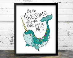 Narwhal, Whale art, Narwhal gift, Nautical wall decor, The narwhal oh yes its real Nautical Wall Decor, Nautical Nursery, Nautical Theme, Nautical Quotes, Nursery Quotes, Nursery Art, Bathroom Art, To Infinity And Beyond, Comics