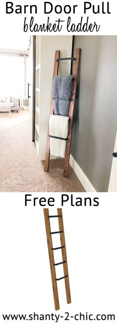 This DIY Barn Door Pull Blanket Ladder is a super easy and quick project! Perfect for beginners. Free plans and how-to video at www.shanty-2-chic.com via @shanty2chic