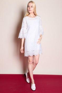 Bell Sleeve Eyelet Dress (White)  $38
