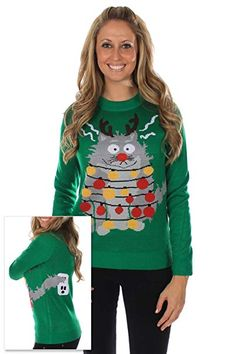 Who is going to an Ugly Christmas Sweater Party this year? Well, you need to dress right and get yourself one of the Best Ugly Christmas Sweaters for Best Ugly Christmas Sweater, Ugly Christmas Sweater Women, Holiday Sweaters, Couple Christmas, Christmas Cats, Christmas Jumpers, Christmas Lights, Xmas, Green Christmas