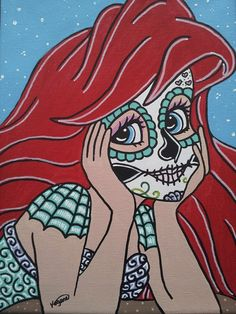 Canvas Print featuring Ariel Sugar Skull 2 by KittyOG Sugar Skull Decor, Sugar Skull Art, Disney Fan Art, Disney Fun, Kawaii Disney, Pin Up Mermaid, The Little Mermaid, Ariel Pictures, Crane
