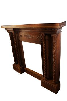 Rustic white washed or blue patina ornately carved wood fireplace surround as the focal point – Farmhouse Fireplace Mantels Farmhouse Fireplace Mantels, Rustic Mantle, Wood Fireplace Surrounds, Mantel Mirrors, Rustic White, White Wood, Eclectic Decor, Teak Wood, Antique Furniture
