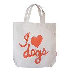 I Love Dogs Tote Bag Orange by Romy + Jacob