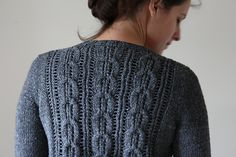 """Acer cardigan sweater pattern by Amy Christoffers (knitting, cables, lace, bottom-up, set in sleeves, savory knitting) // featured in """"New Favorites: Slightly lacy cardigans"""": http://fringeassociation.com/2013/02/19/new-favorites-slightly-lacy-cardigans/ (my current WIP, or one of)"""