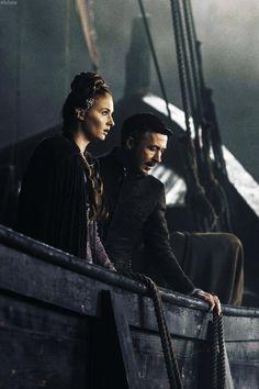 Sophie Turner as Sansa Stark and Aiden Gillen as Lord Petyr 'Littlefinger' Baelish