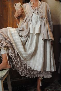 Mlle Jeannette : lin poudré et toile à matelas rosé ou nature... - Atelier des Ours.
