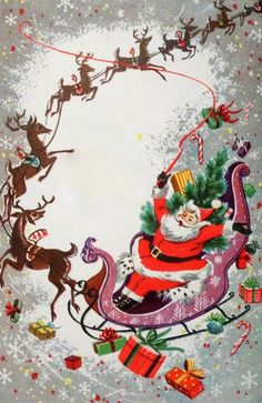 Mid Century Santa & Reindeer-Sleigh-Vintage Christmas Card-Greeting in Collectibles, Paper, Vintage Greeting Cards, Christmas Vintage Christmas Images, Old Christmas, Retro Christmas, Vintage Holiday, Christmas Pictures, Christmas Holidays, Christmas Greeting Cards, Christmas Greetings, Holiday Cards
