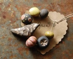 Gaea, Ojai, Ceramic Beads, Beads, Ceramic Bead Set, Handmade Beads, bird, bead, black bird, blue, turquoise, yellow
