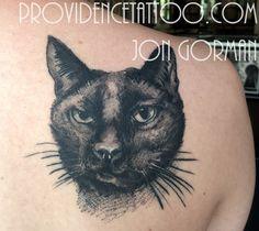 by jon gorman at providence tattoo  #providencetattoo #jongorman #catportrait #cat #tattoo #cattattoo #pet #animal #pettattoo #blackcat #blackwork #blackandgrey #tattooideas #tattooartists