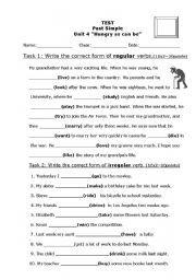 English worksheet: Past Simple Test Regular/Irregular Verbs