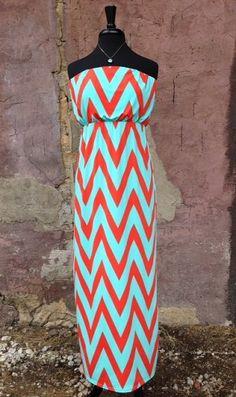 Mint and Coral Chevron Maxi - love theaci and adore the color contrast...chevron <3