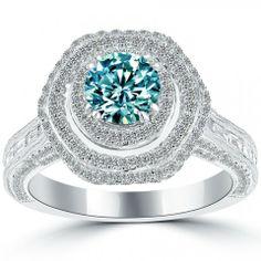 3.78 Carat Fancy Blue Diamond Engagement Ring 18k Gold Pave Halo Vintage Style - Fancy Color Engagement Rings - Engagement