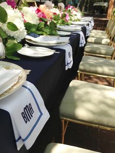 Mark and Graham monogrammed napkins and luscious arrangements of hydrangeas and pink peonies at Bradley Agather Means' bridal luncheon. Bridesmaid Luncheon, Bridal Luncheon, White Table Settings, Place Settings, Dresser La Table, Monogrammed Napkins, Monogram Towels, Partys, Party Entertainment
