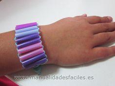 pulsera pajitas reciclaje hilo niños manualidades