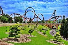 The Dragon Khan coaster at the Port Aventura park in Salou, Spain Salou Spain, Attraction, Big Ride, Roller Coaster Ride, Roller Coasters, Tunnel Of Love, Park Pictures, Cool Themes, Balearic Islands