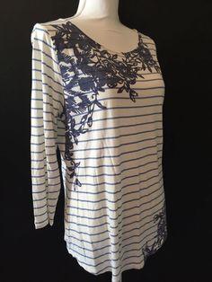 J Jill Women's Blue & White Print Knit Tunic T-Shirt Top Size M #JJill #KnitTop