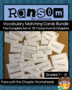 Ransom Novel Study Vocabulary Matching Cards - perfect on their own or as a supplement to the chapter worksheets. English Vocabulary Words, Vocabulary Cards, Ontario Curriculum, High School English, Matching Cards, Study Ideas, Word Work, Teaching Resources, Worksheets